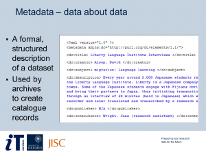 Preparing Your Research Data for the Future - sample slide
