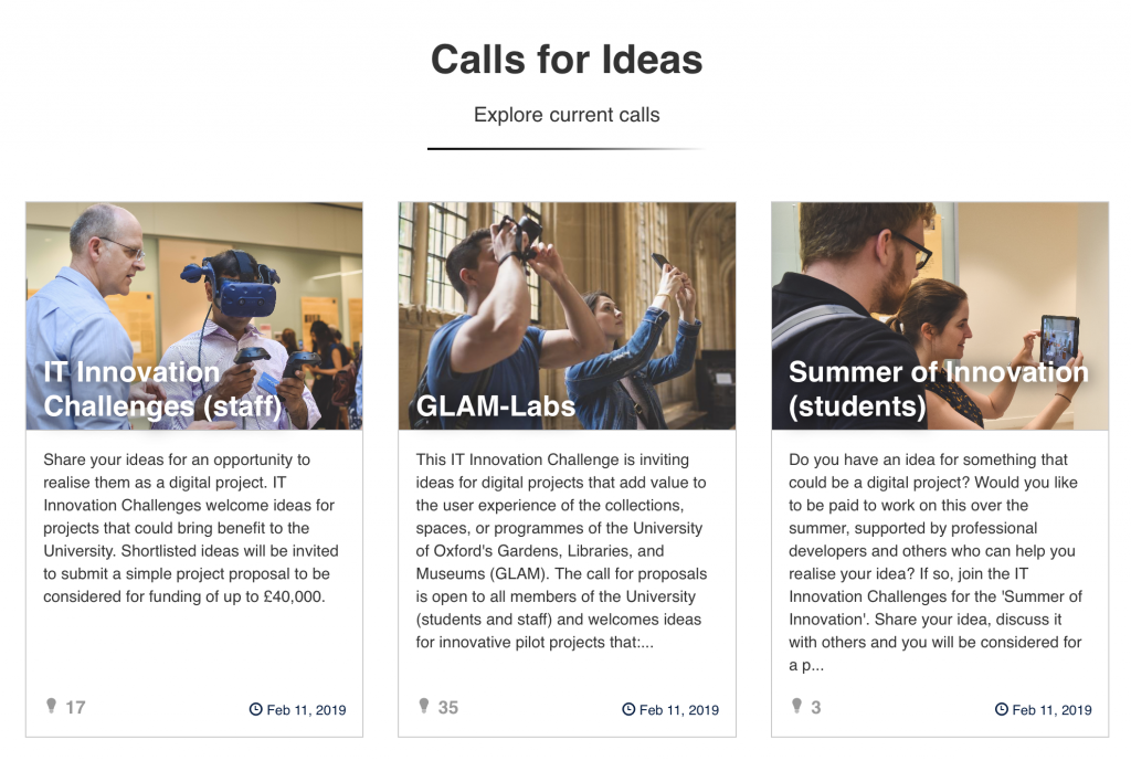 Screenshot of the three calls for ideas on the OxfordIdeas platform