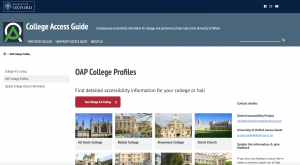 Screenshot of the Oxford Accessibility Project's College Access Guide