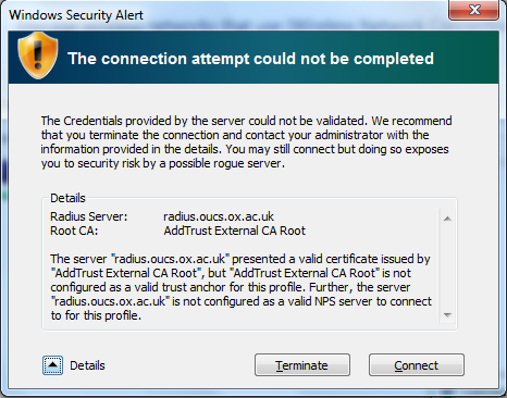 Certificate validation error dialog on Windows 7