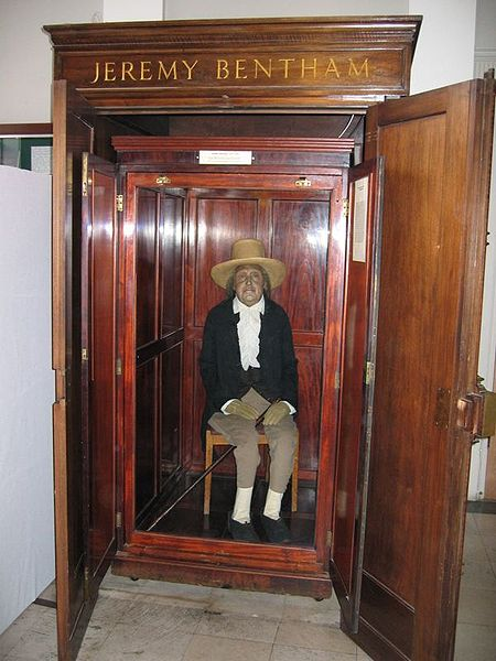 "Jeremy Bentham's ""Auto-Icon"" at University College London."