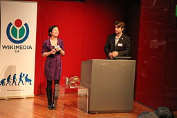 Sue Gardner (executive director, Wikimedia Foundation) and Liam Wyatt (Wikipedian in Residence at British Museum) at GLAM-WIKI conference, Nov 2010