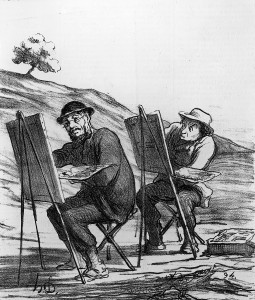 image of one artist copying another