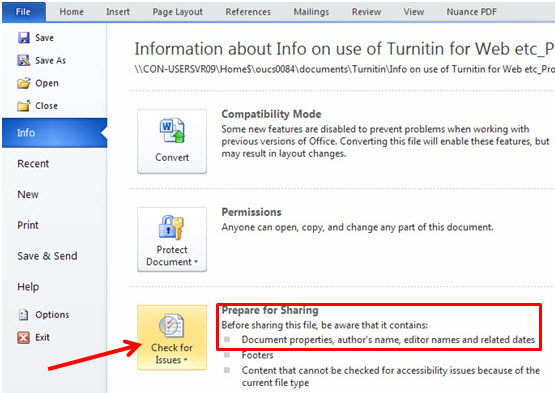 how to strip metadata from a word 2010 document turnitin With word documents metadata