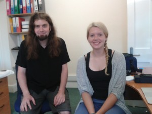 Mark Johnson and Rachel Holmshaw take a moment from their preparations for their trip to meet software developers in Southampton