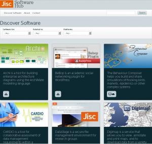 Screenshot of the pilot Jisc Software Hub website
