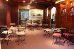 Tables and chairs set up in museum